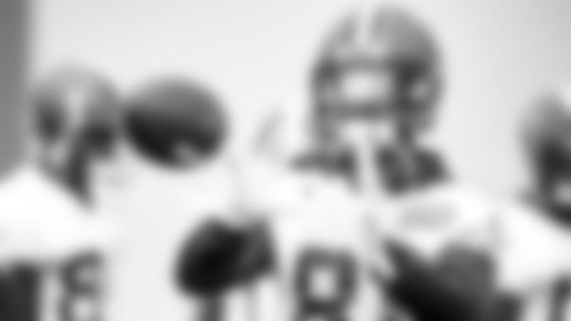 Wide receiver Rashard Higgins (81) during practice on October 4, 2019