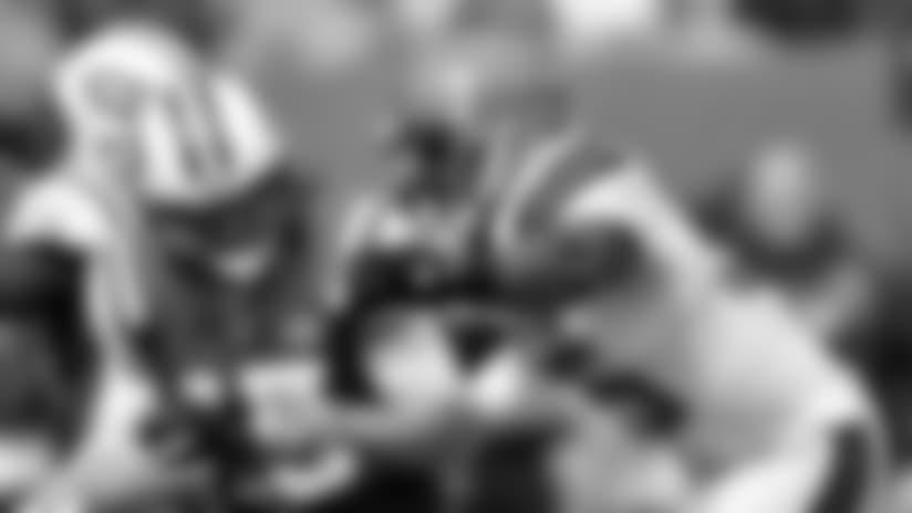 DL Myles Garrett sacks Jets QB Josh McCown.