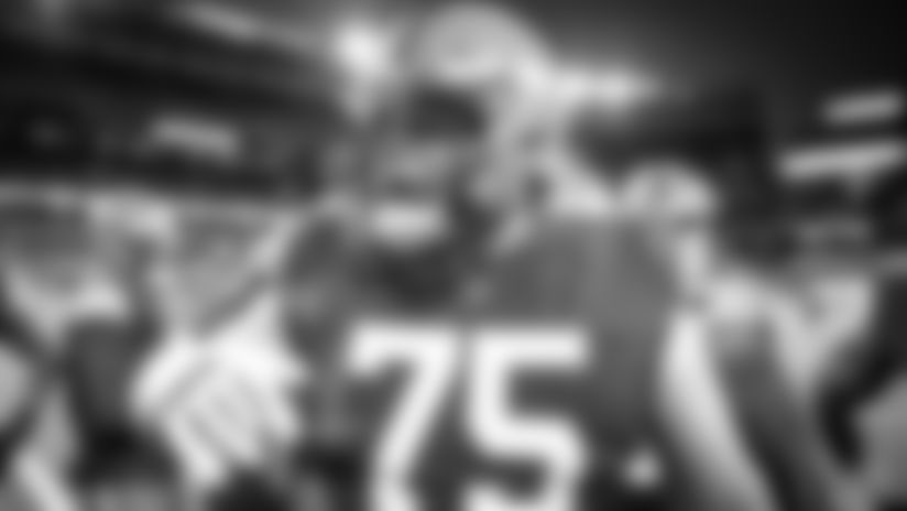 Offensive guard Joel Bitonio (75) before an NFL football game between the Cincinnati Bengals and Cleveland Browns on September 17, 2020 at FirstEnergy Stadium. The Browns won 35-30.