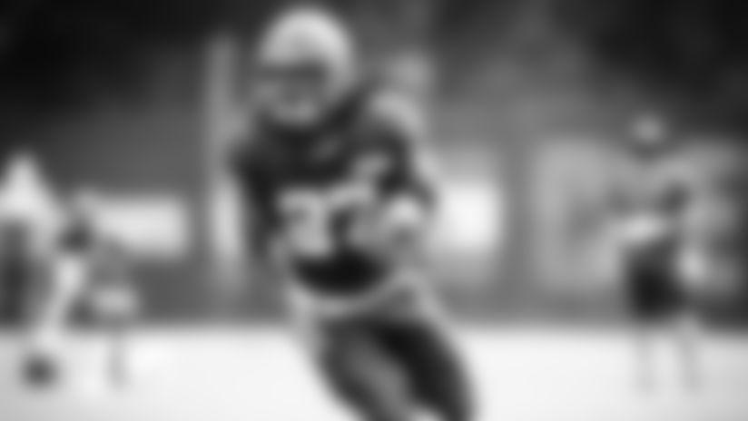 Running Back Kareem Hunt (27) during practice on September 9, 2020