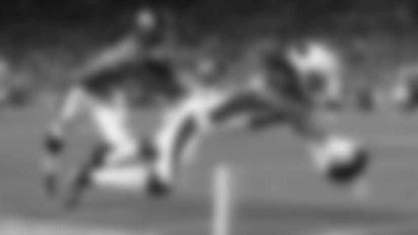 Wide receiver A.J. Richardson scores a touchdown against the Broncos during the preseason.