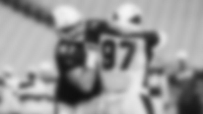 Guard Justin Pugh blocks rookie defensive lineman Zach Allen during Wednesday's practice.
