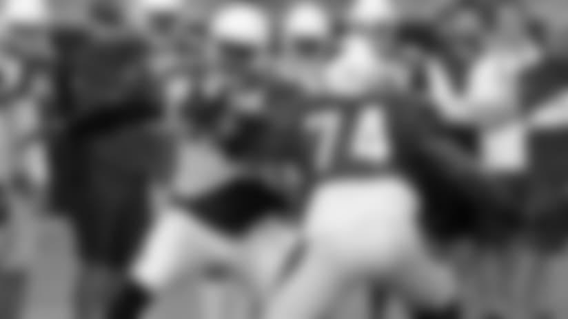 DE Chandler Jones (left) faces off against LT D.J. Humphries at the start of Monday's practice.
