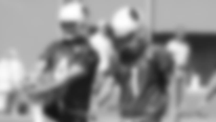 Rookie kicker Matt McCrane (right) with veteran Phil Dawson during offseason work