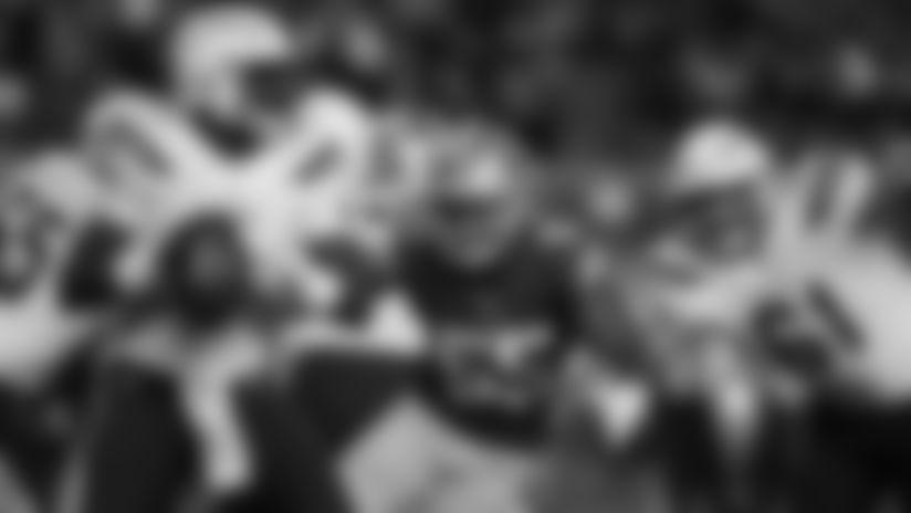 Los Angeles Chargers quarterback Cardale Jones (7) looks to throw as San Francisco 49ers linebacker Pita Taumoepenu (55) rushes during an NFL preseason football game, Thursday, Aug. 30, 2018 in Santa Clara, Calif.