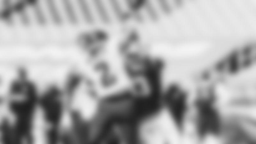 OLB Haason Reddick racked up 12.5 sacks this season, including this forced fumble on Eagles QB Jalen Hurts in Week 15.