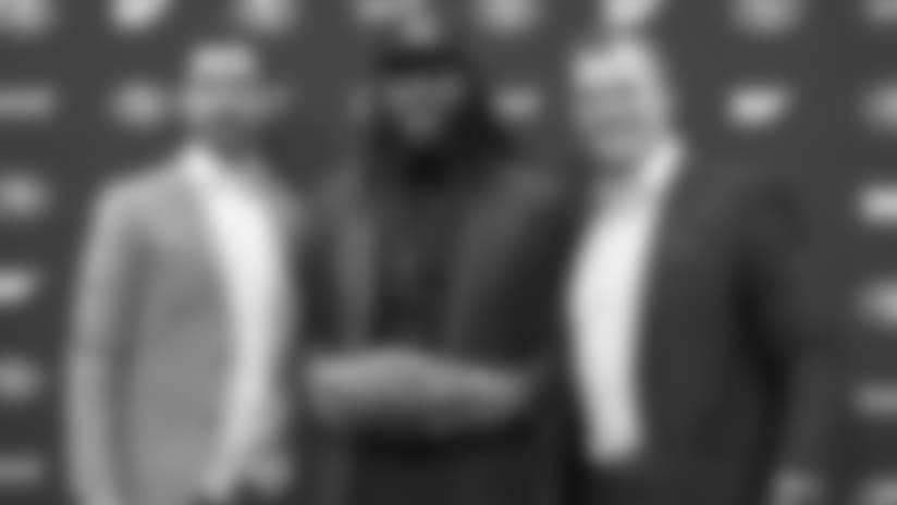 From left: 49ers coach Kyle Shanahan, CB Richard Sherman and GM John Lynch