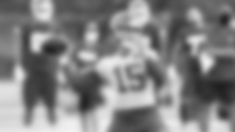 Kansas City Chiefs Quarterback Patrick Mahomes (15)  during practice on Saturday at The University Of Kansas Training Facility on August 11, 2020.