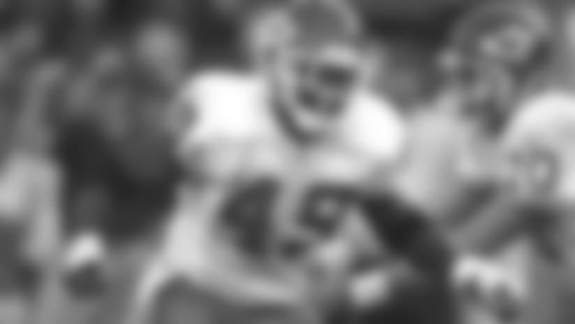 Kansas City Chiefs fullback Tony Richardson (49) blocks on a running play during a 2003 NFL game.