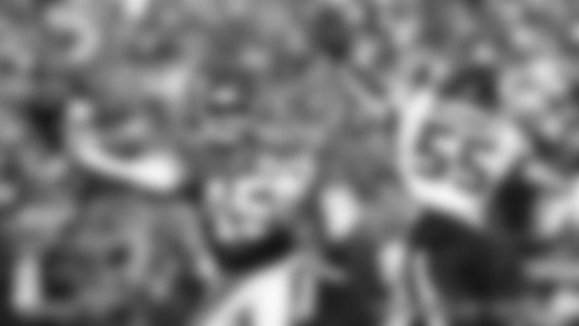 Kansas City Chiefs Quarterback Patrick Mahomes (15) during the game between the game between the Kansas City Chiefs and the Houston Texans on October 13, 2019 at Arrowhead Stadium.