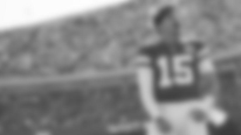 Kansas City Chiefs Quarterback Patrick Mahomes (15) before the game between the game between the Kansas City Chiefs and the Houston Texans on October 13, 2019 at Arrowhead Stadium.