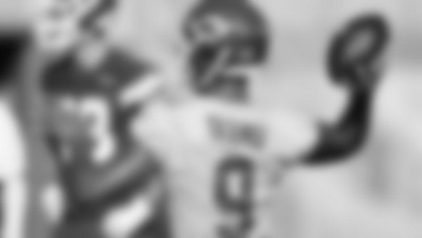 Kansas City Chiefs Quarterback Jordan Ta'amu (9) during practice on Thursday at The University Of Kansas Training Facility on August 7, 2020.