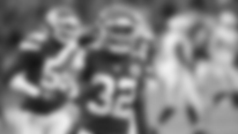 Kansas City Chiefs Safety Tyrann Mathieu (32) during the game between the Kansas City Chiefs and Oakland Raiders at Arrowhead Stadium on December 1, 2019.