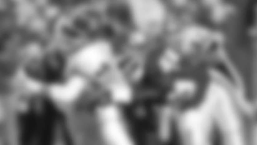 Kansas City Chiefs linebacker Derrick Thomas (58) sacks the Denver Broncos quarterback John Elway (7).