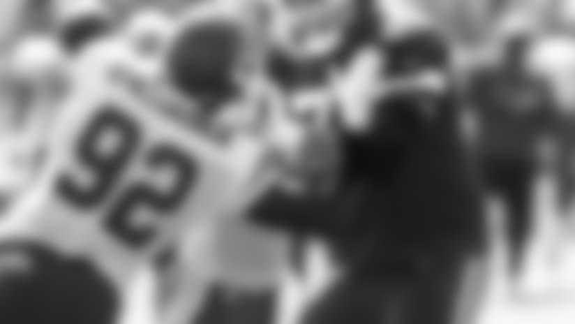 Kansas City Chiefs offensive tackle Mitchell Schwartz (71) and linebacker Tanoh Kpassagnon (92) during practice 7/28/18 at Chiefs Training Camp at Missouri Western State University in St Joseph, Missouri