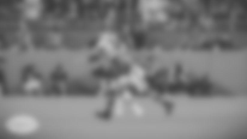 An image from Xavien Howard's two-interception night of Tom Brady on Monday Night Football.