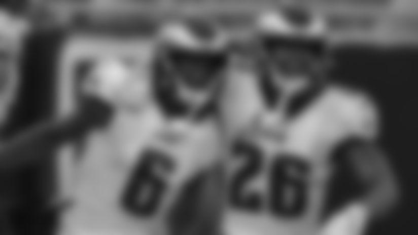 WR Greg Ward and RB Miles Sanders  Philadelphia Eagles vs. Jacksonville Jaguars at TIAA Bank Field on August 15, 2019