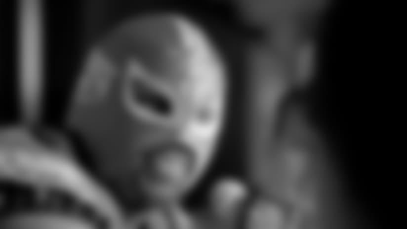 DT Fletcher Cox wearing a luchador mask.