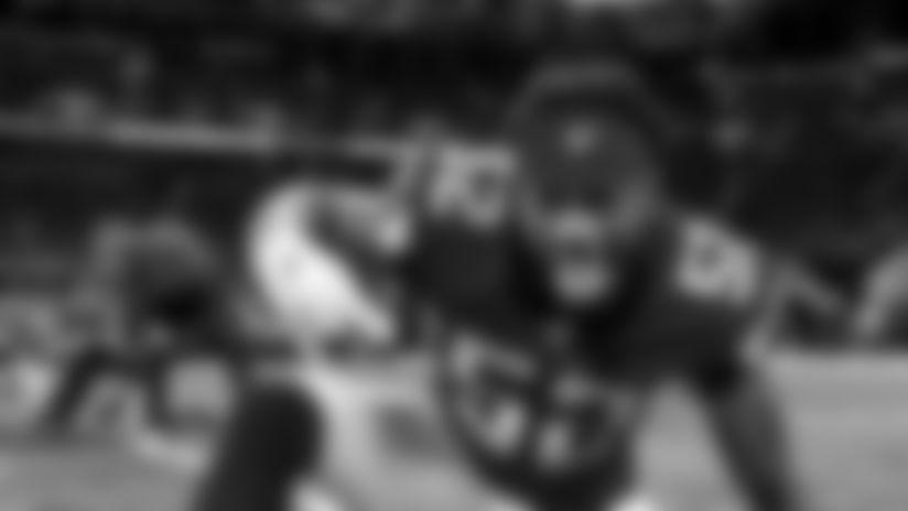 Atlanta Falcons linebacker Ahmad Thomas #52 gestures during pregame at Mercedes-Benz Stadium in Atlanta, GA, on Sunday December 22, 2019. (Photo by Lynn Bass/Atlanta Falcons)