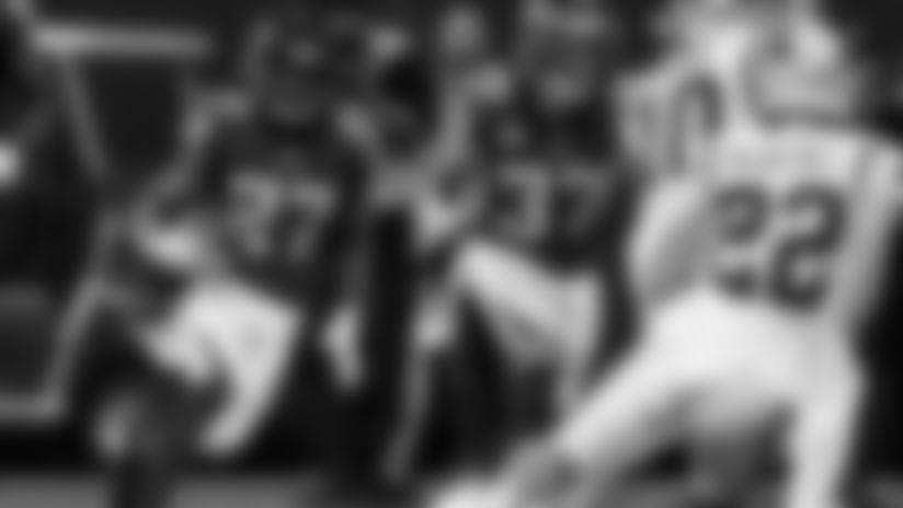 Atlanta Falcons strong safety Damontae Kazee #27 runs the ball after making an interception against the Carolina Panthers at Mercedes-Benz Stadium in Atlanta, GA, on Sunday December 8, 2019. (Photo by Adler Garfield/Atlanta Falcons)