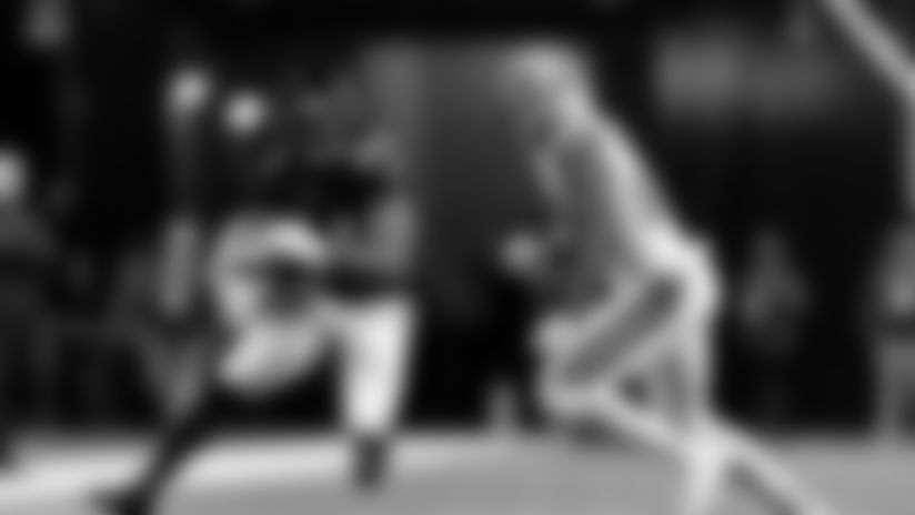 Atlanta Falcons running back Devonta Freeman #24 carries the ball during the game between the Atlanta Falcons and the New Orleans Saints at Mercedes-Benz Stadium in Atlanta, GA, on Thursday November 28, 2019. (Photo by Kara Durrette/Atlanta Falcons)
