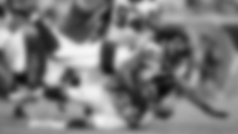 Atlanta Falcons linebacker Tre' Crawford #49 sacks Jacksonville Jaguars quarterback Gardner Minshew #15 during the game at TIAA Bank Field in Jacksonville, Florida, on Thursday August 29, 2019. (Photo by Adler Garfield/Atlanta Falcons)