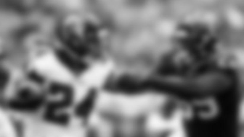 Atlanta Falcons quarterback Matt Ryan #2 talks to wide receiver Julio Jones #11 at AT&T Atlanta Falcons Training Camp on August 4, 2020 in Flowery Branch, GA. (Photo by Rob Foldy/Atlanta Falcons)
