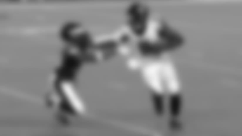 Julio Jones stiff arms Rodney McLeod to turf on big run