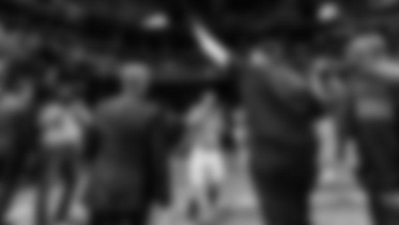 Atlanta Falcons head coach Dan Quinn waves to fans after the game between the Atlanta Falcons and the Carolina Panthers at Mercedes-Benz Stadium in Atlanta, GA, on Sunday December 8, 2019. (Photo by Adler Garfield/Atlanta Falcons)