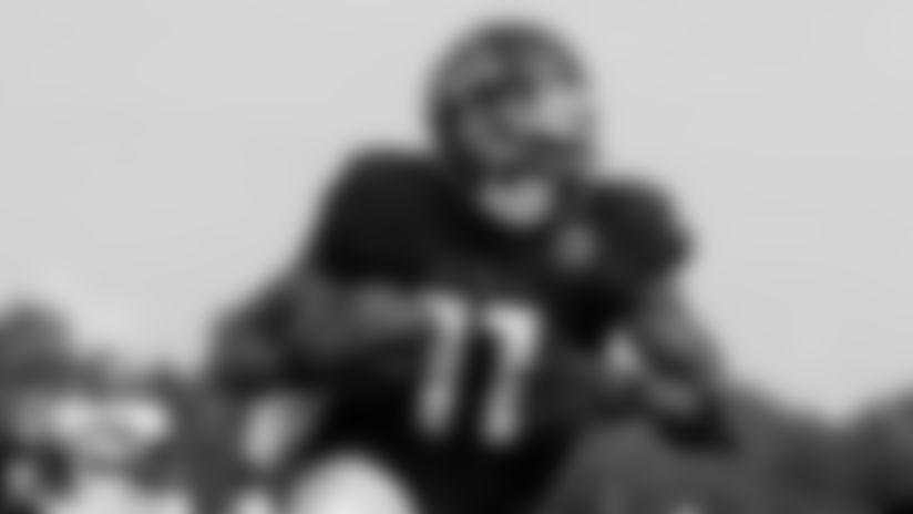 Atlanta Falcons wide receiver Julio Jones #11 runs with the ball at AT&T Atlanta Falcons Training Camp on August 20, 2020 in Flowery Branch, GA. (Photo by Kara Durrette/Atlanta Falcons)