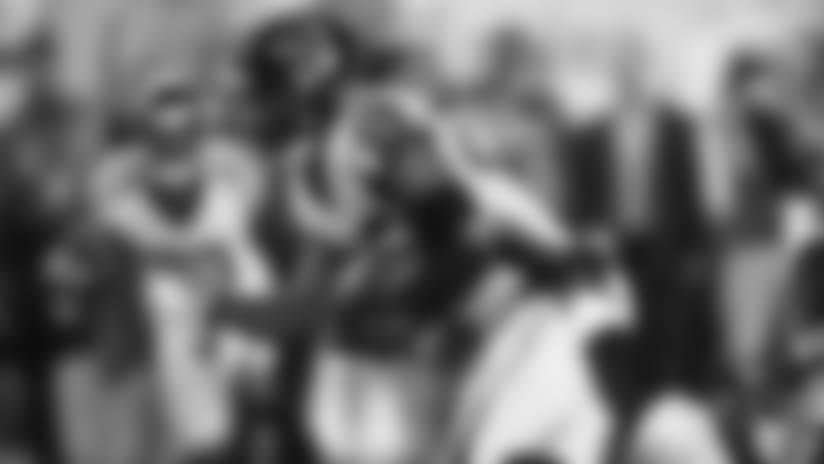 Damontae Kazee big hit leads to Deion Jones interception