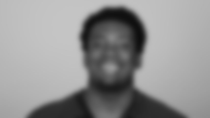 This is a 2021 photo of Adetokunbo Ogundeji of the Atlanta Falcons NFL football team.  This image reflects the Atlanta Falcons active roster as of May 12, 2021 when this image was taken.  (AP Photo)