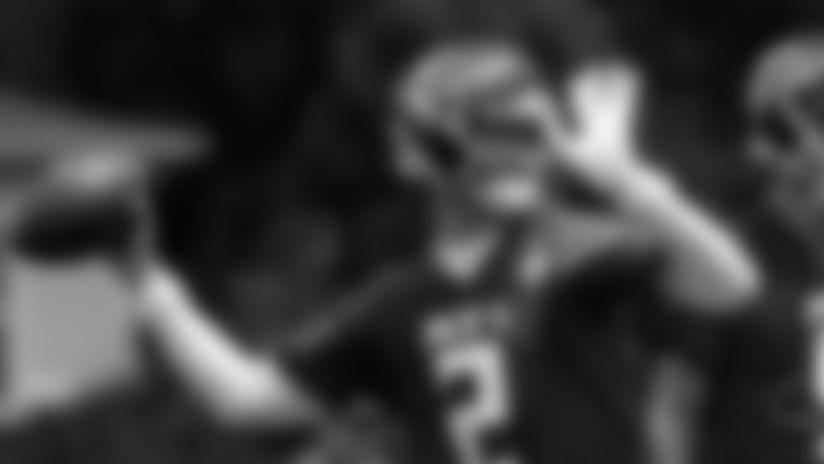 Quarterback Matt Ryan fires a pass during Falcons minicamp