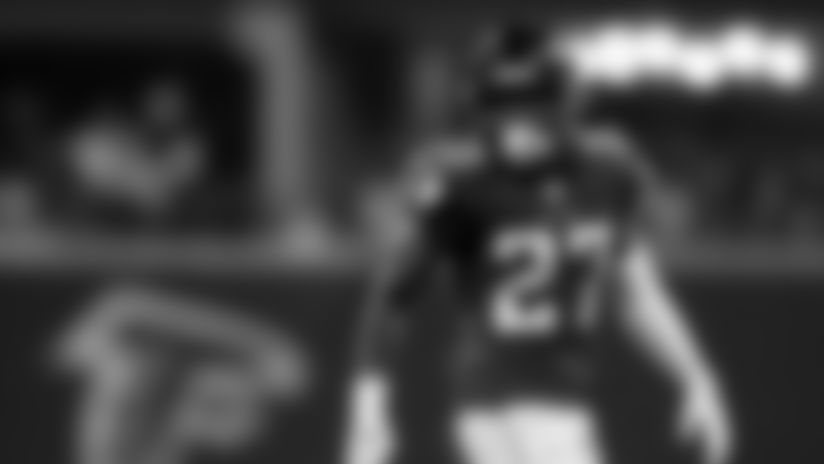 Atlanta Falcons strong safety Damontae Kazee #27 looks on during the game against the Philadelphia Eagles at Mercedes-Benz Stadium in Atlanta, GA, on Sunday September 15, 2019. (Photo by Kyle Hess/Atlanta Falcons)