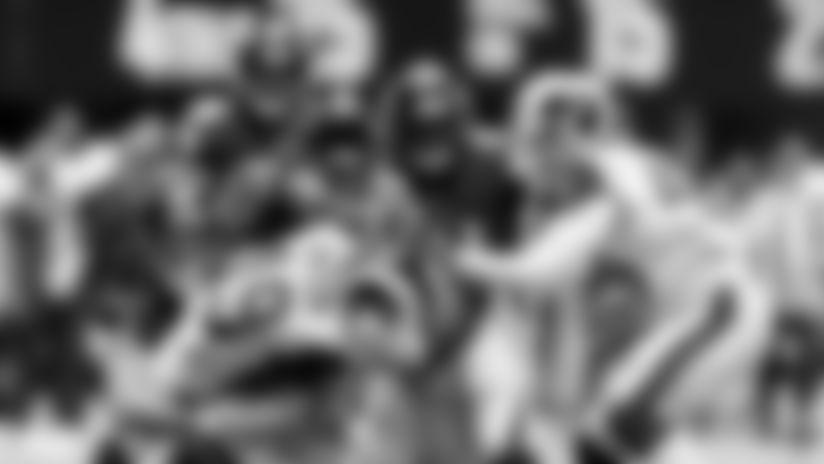 Atlanta Falcons gang tackle Los Angeles Rams wide receiver JoJo Natson #19 during the first quarter against the Los Angeles Rams at Mercedes-Benz Stadium in Atlanta, GA, on Sunday October 20, 2019. (Photo by Mark Brown/Atlanta Falcons)
