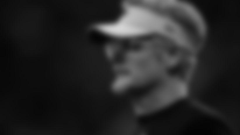 Thomas Dimitroff looks on during AT&T Military Appreciation Training Camp at  Mercedes-Benz Stadium in Atlanta, Georgia, on Sunday August 4, 2019. (Photo by Kara Durrette/Atlanta Falcons)