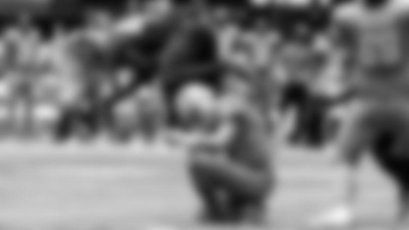 Atlanta Falcons linebacker Deion Jones #45 sacks Detroit Lions quarterback Matthew Stafford #9 during the third quarter \ragainst the Detroit Lions on October 25, 2020. (Photo by Rob Foldy/Atlanta Falcons)