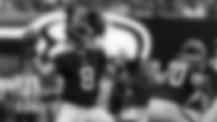 Atlanta Falcons quarterback Matt Schaub #8 throws the ball during the second quarter between the Atlanta Falcons and the Seattle Seahawks at Mercedes-Benz Stadium in Atlanta, GA, on Sunday October 27, 2019. (Photo by Kyle Hess/Atlanta Falcons)