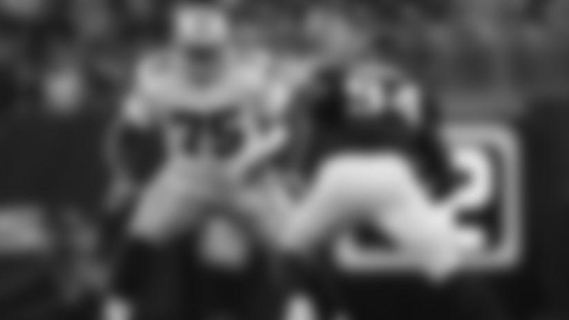 Dallas Cowboys offensive tackle Cameron Fleming (75) blocks during an NFL preseason football game against the Houston Texans on Thursday, Aug. 30, 2018 in Houston. Houston won 14-6. (Aaron M. Sprecher via AP)