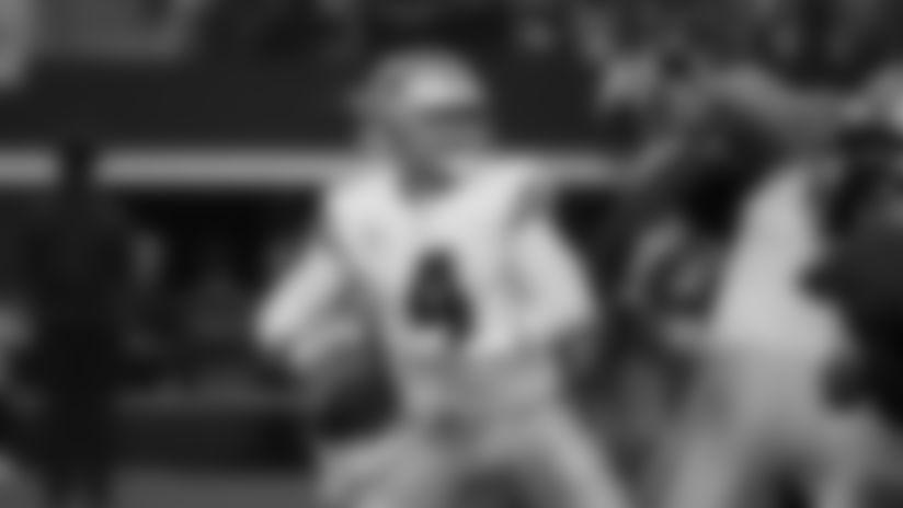 Dallas Cowboys quarterback Dak Prescott (4) drops back to throw a pass during an NFL football game against the Philadelphia Eagles in Arlington, Texas, Sunday, Oct. 20, 2019. (AP Photo/Michael Ainsworth)