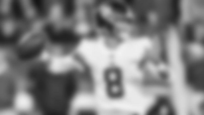 New York Giants quarterback Daniel Jones (8) takes part in a week 6 regular season game against the New England Patriots on Thursday October 10th, 2019 in Foxborough, Massachusetts