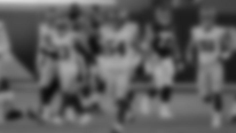 New York Giants linebacker Blake Martinez (54) celebrates during an NFL football game against the Washington Football Team on Sunday, November 8, 2020 in Landover, Maryland. (Mikey Owens/NFL)