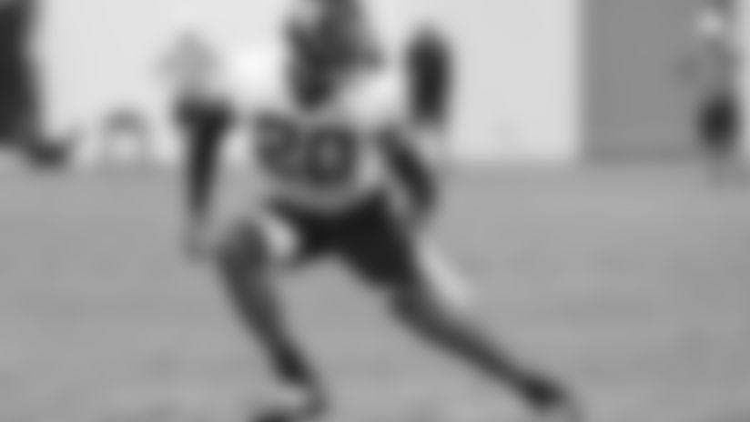 Jacksonville Jaguars cornerback Jalen Ramsey (20) is seen during practice, Saturday, July. 27th, 2019 in Jacksonville, Fla. (Logan Bowles via AP)