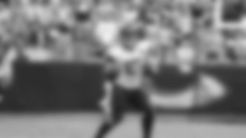 Jacksonville Jaguars quarterback Gardner Minshew (15) during an NFL football game against the Carolina Panthers, Sunday, Oct. 6, 2019 in Charlotte, N.C. (Logan Bowles/NFL)