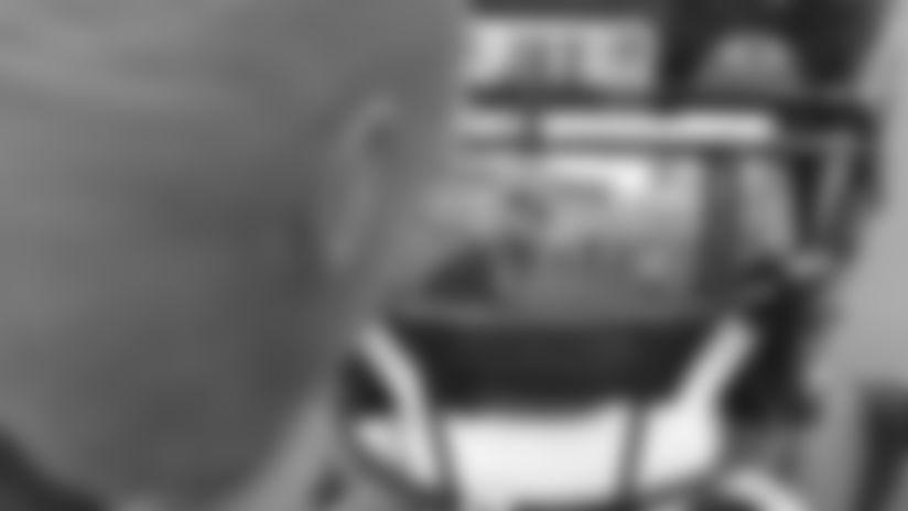 Jacksonville Jaguars defensive coordinator Todd Wash is reflected in the helmet visor of cornerback Jalen Ramsey (20) as they talk during pregame warm-ups against the Philadelphia Eagles in an NFL preseason game, Thursday, August 15, 2019 in Jacksonville, Fla. (Rick Wilson via AP)