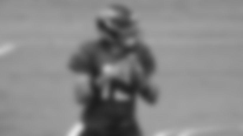 Jacksonville Jaguars quarterback Gardner Minshew II (15) throws a pass during an NFL football workout, Thursday, Aug. 20, 2020, in Jacksonville, Fla. (Logan Bowles via AP)
