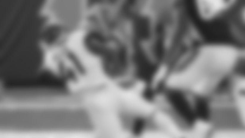 Jacksonville Jaguars rookie defensive end Josh Allen (41) sacks Cincinnati Bengals quarterback Andy Dalton (14) for an 11 yard loss with 5:43 to play in the third quarter in an NFL game, Sunday, Oct. 20, 2019 in Cincinnati. (Rick Wilson via AP Images)