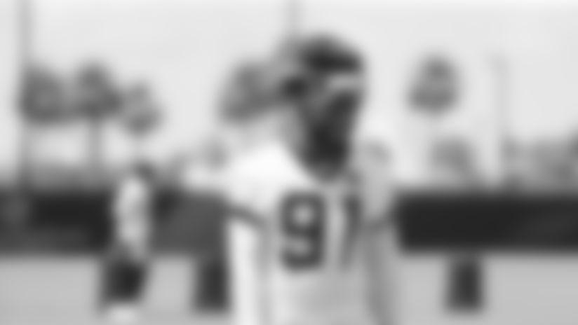 Jacksonville Jaguars defensive end Yannick Ngakoue (91)is seen during OTA practice, Tuesday, May. 21, 2019 in Jacksonville, Fla. (Logan Bowles via AP)