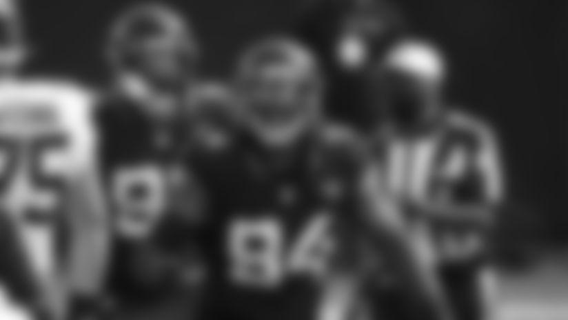Jacksonville Jaguars defensive end Dawuane Smoot (94) celebrates after sacking Cleveland Browns quarterback Baker Mayfield during the first half of an NFL football game, Sunday, Nov. 29, 2020, in Jacksonville, Fla. (AP Photo/Stephen B. Morton)