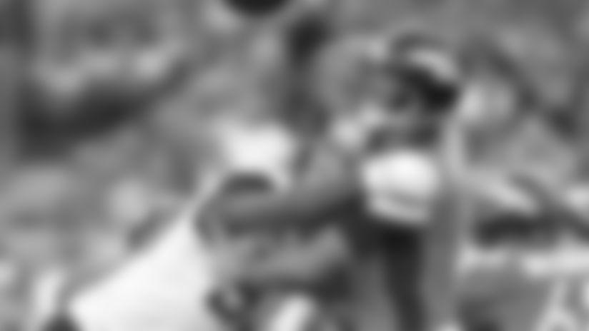 Jacksonville Jaguars defensive end Calais Campbell (93) hits Denver Broncos quarterback Joe Flacco (5) just as he releases a fourth quarter pass in an NFL game, Sunday, September 29, 2019 in Denver. (Rick Wilson via AP Images)